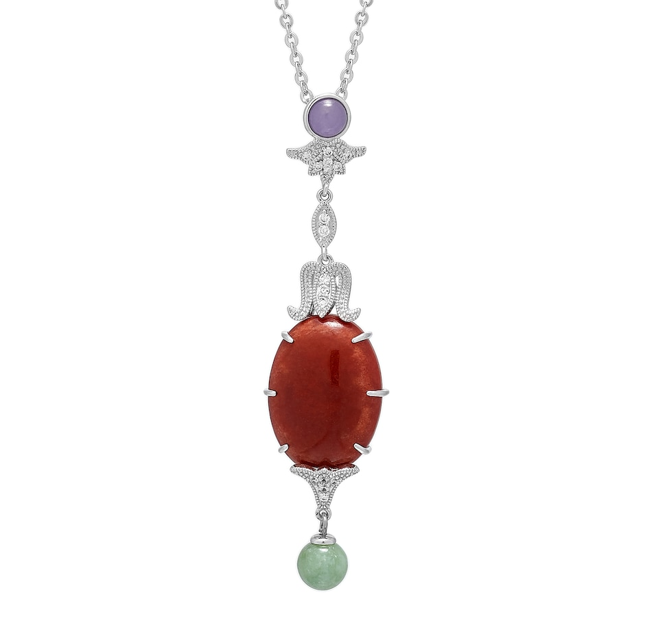 Image 476749.jpg , Product 476-749 / Price $99.88 , Jade of Yesteryear Sterling Silver Rhodium Plate Jade & Cubic Zirconia Lantern Pendant with Chain from Jade of Yesteryear on TSC.ca's Jewellery department