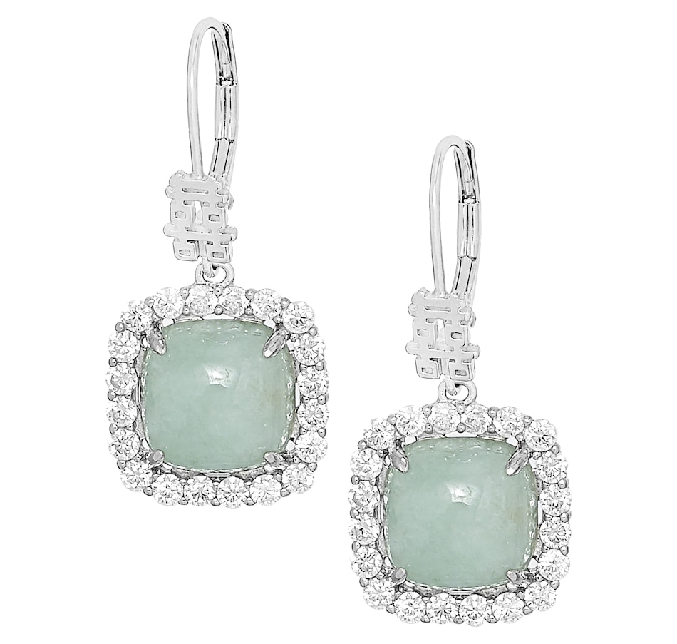 Image 476753_GRN.jpg , Product 476-753 / Price $89.99 , Jade of Yesteryear Sterling Silver Rhodium Plate Genuine Jade Double Happiness Halo Earrings from Jade of Yesteryear on TSC.ca's Jewellery department