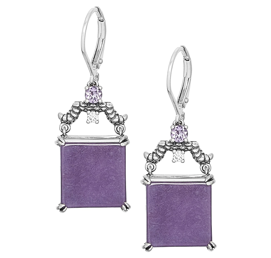 Image 476756.jpg , Product 476-756 / Price $99.99 , Jade of Yesteryear Sterling Silver Oxidized Square Dyed Purple Jade, Amethyst & Cubic Zirconia Earrings from Jade of Yesteryear on TSC.ca's Jewellery department