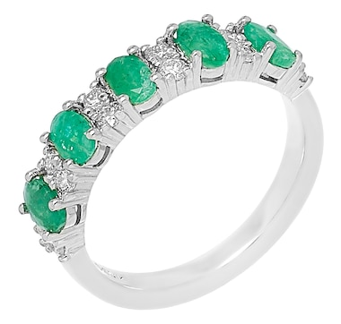 Elizabeth Strauss Sterling Silver Gemstone and Lab Grown Diamond Ring