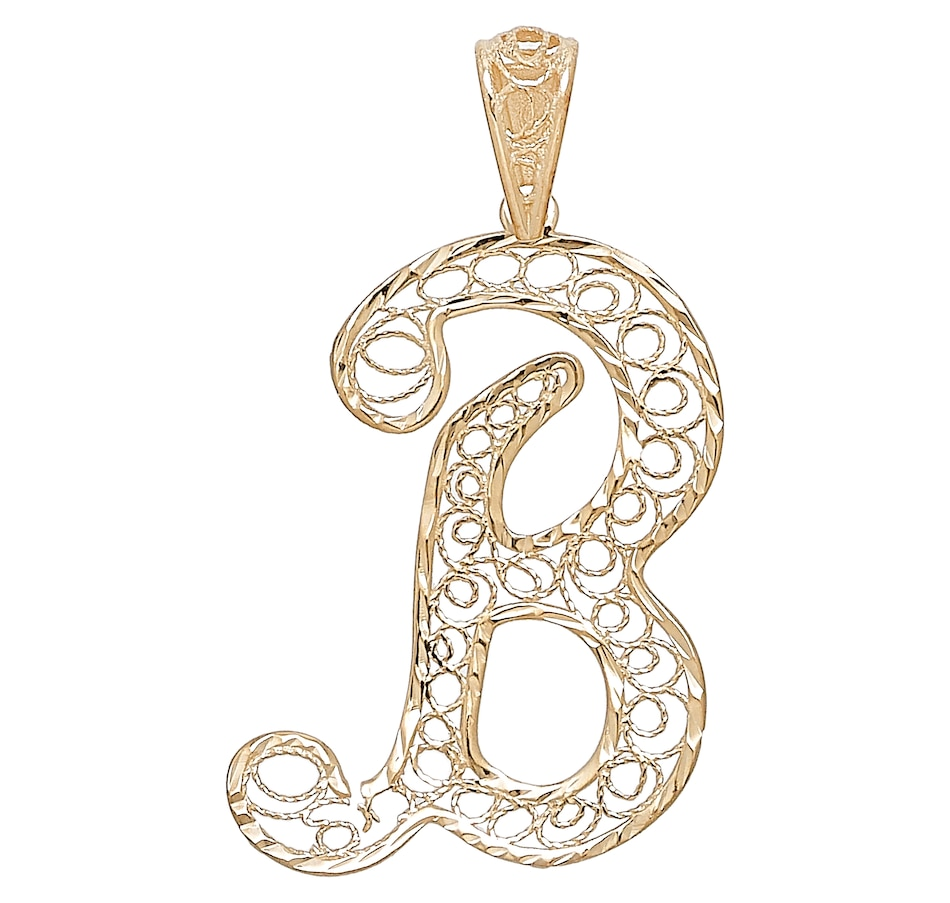 Image 476819_B.jpg , Product 476-819 / Price $169.99 , Stefano Oro 14K Yellow Gold Filigree Initials Pendant from Stefano Oro on TSC.ca's Jewellery department