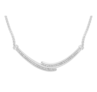 Sterling Silver Diamond Bypass Necklace
