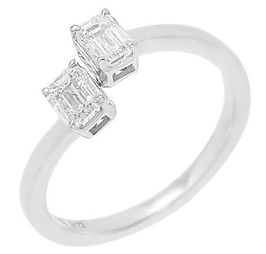 Inspire Diamonds 14K White Gold 0.75ctw 2 Stone Emerald Cut Straight Baguette Ring