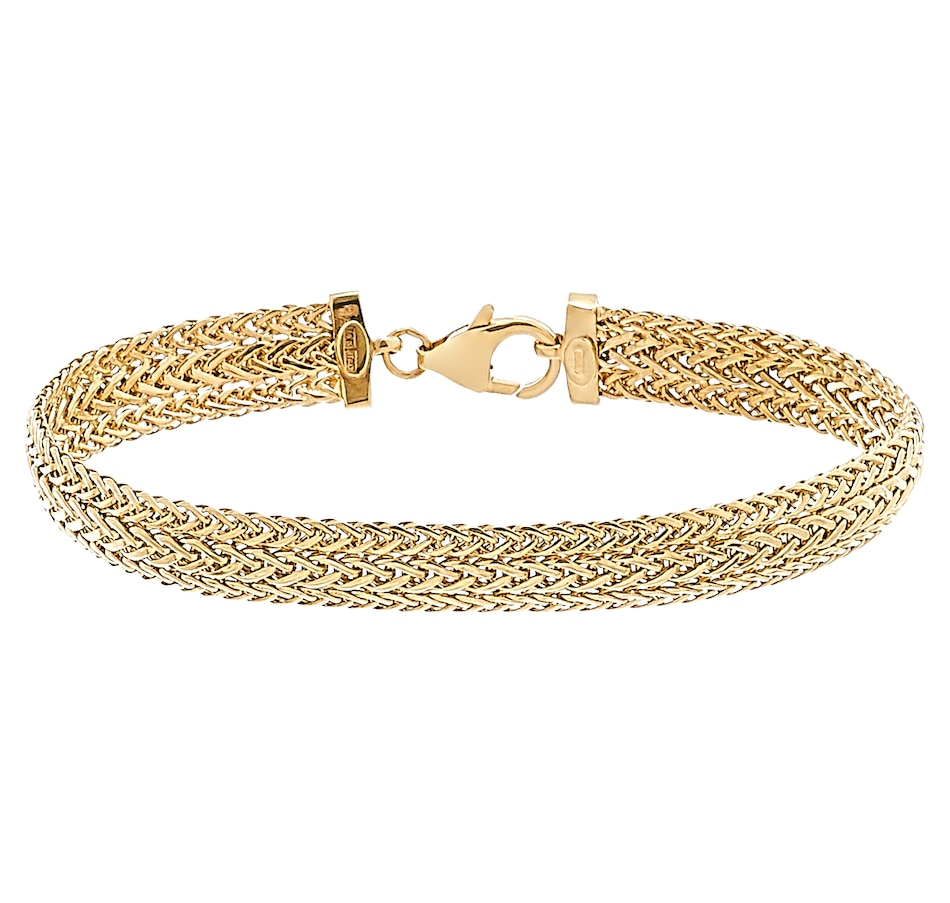 Image 477098_YGL.jpg , Product 477-098 / Price $959.99 , Stefano Oro 14K Gold Flat Spiga Classica Bracelet from Stefano Oro on TSC.ca's Jewellery department