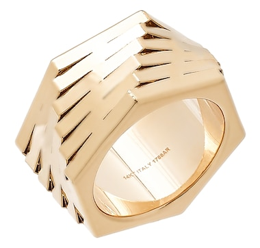 Stefano Oro 14K Gold 3D Stackable Bold Ring
