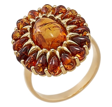 Amber Extraordinaire Sterling Silver Oval Halo Ring