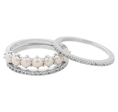 Imperial Pearls 3 Piece 3-4mm Cultured Freshwater Pearl & White Topaz Band Set