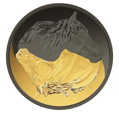 2020 $20 Fine Silver Coin Black and Gold: The Canadian Horse