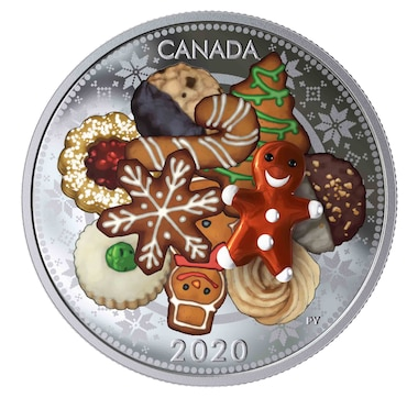 2020 $20 Fine Silver Coin Holiday Cookies with Murano Glass Element