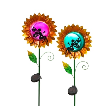 Solar Lighted Sunflower and Fairy Yard Stake (2-Pack)
