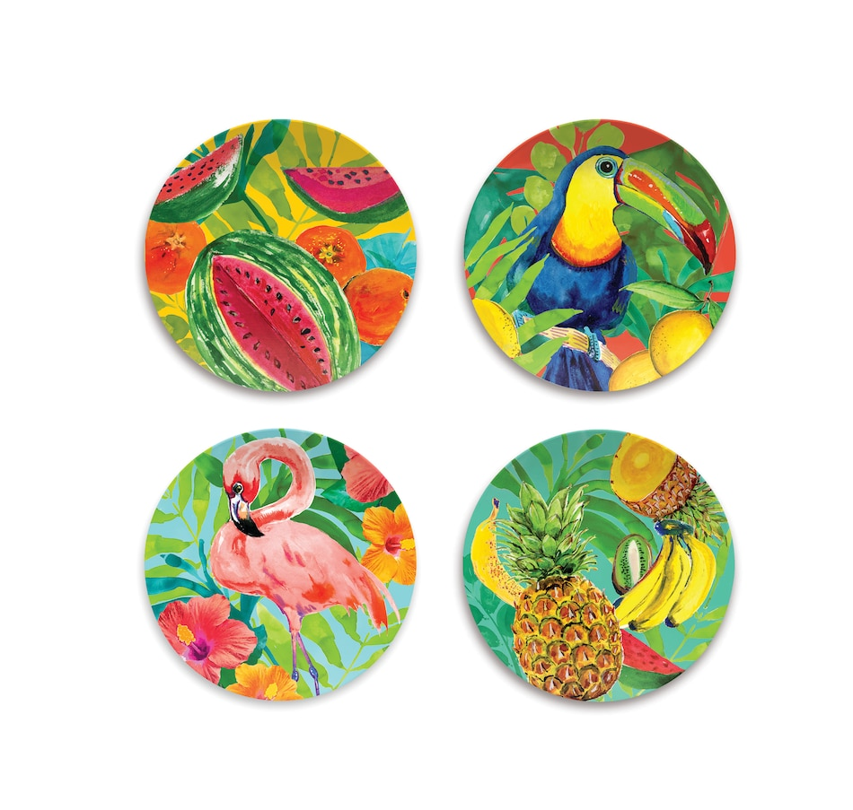 Image 484033.jpg , Product 484-033 / Price $36.33 , Tarhong Tropical Vibes Melamine Salad Plates (Set of 4) from TarHong on TSC.ca's Home & Garden department