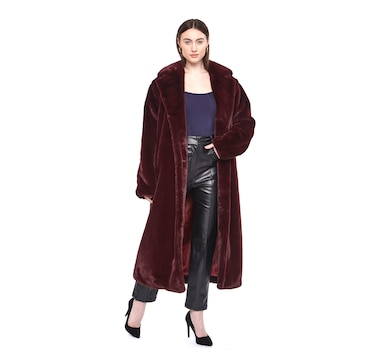 Hilary MacMillan Faux Fur Long Teddy Coat