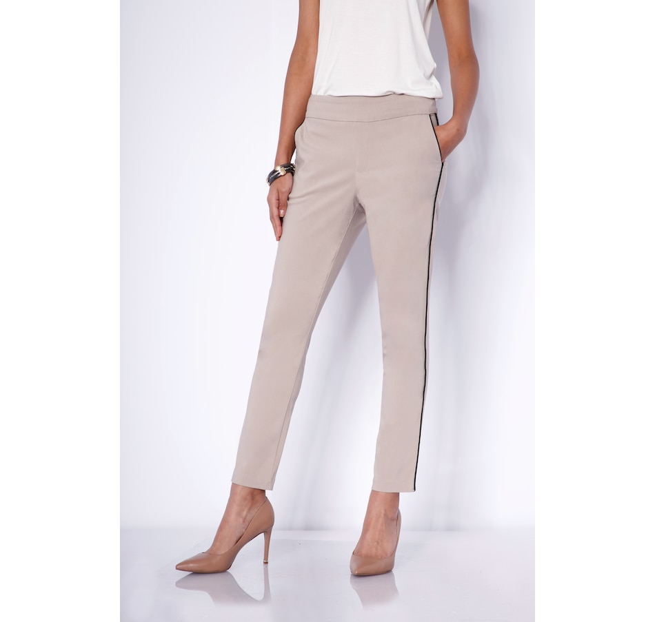 Image 484249_SAN.jpg , Product 484-249 / Price $109.90 , MarlaWynne Piped Seam Straight Leg Flatter Fit Pants with Pockets from MarlaWynne on TSC.ca's Fashion department