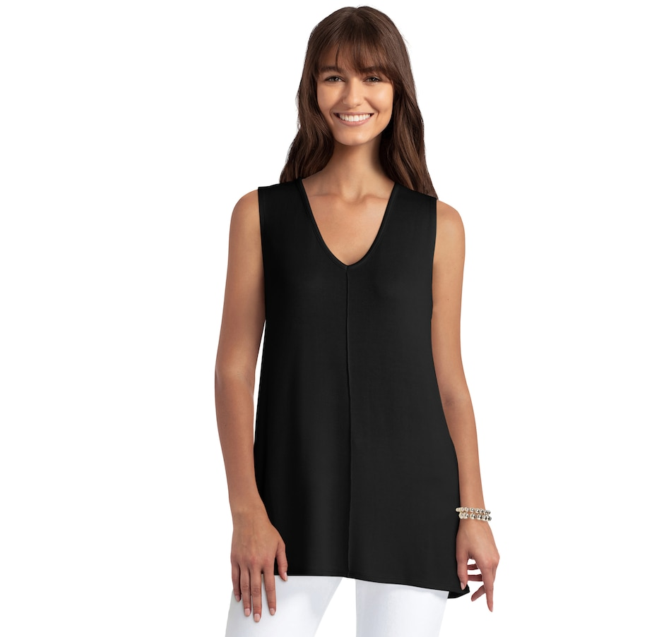 Image 484416_BLK.jpg , Product 484-416 / Price $49.99 , Isaac Mizrahi New York Loose Knit V Neck Seam Front Tank from Isaac Mizrahi New York on TSC.ca's Fashion department