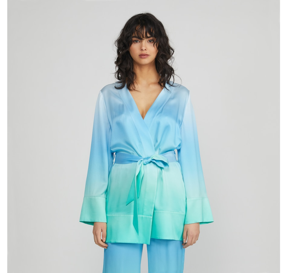 Image 485104_BLAQA.jpg , Product 485-104 / Price $279.99 , Badgley Mischka Washable Mulberry Silk Ombre Tie Front Cardigan from Badgley Mischka on TSC.ca's Fashion department