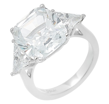 Deborah Freund Designs Sterling Silver Cushion Cut Cubic Zirconia Ring