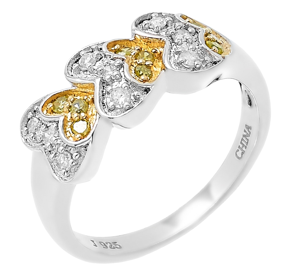 Image 485525.jpg , Product 485-525 / Price $149.99 , Colours of Diamonds Sterling Silver 0.25 ctw Yellow & White Diamond Ring from Colours of Diamonds on TSC.ca's Jewellery department