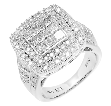 10K White Gold 2.00ctw Cushion Shape Diamond Ring