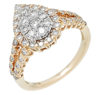 14K Yellow Gold 1.00ctw Pear Shape Diamond Ring
