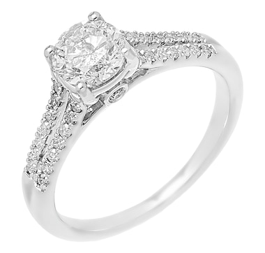 14K White Gold 1.25ctw Open Shank Diamond Ring