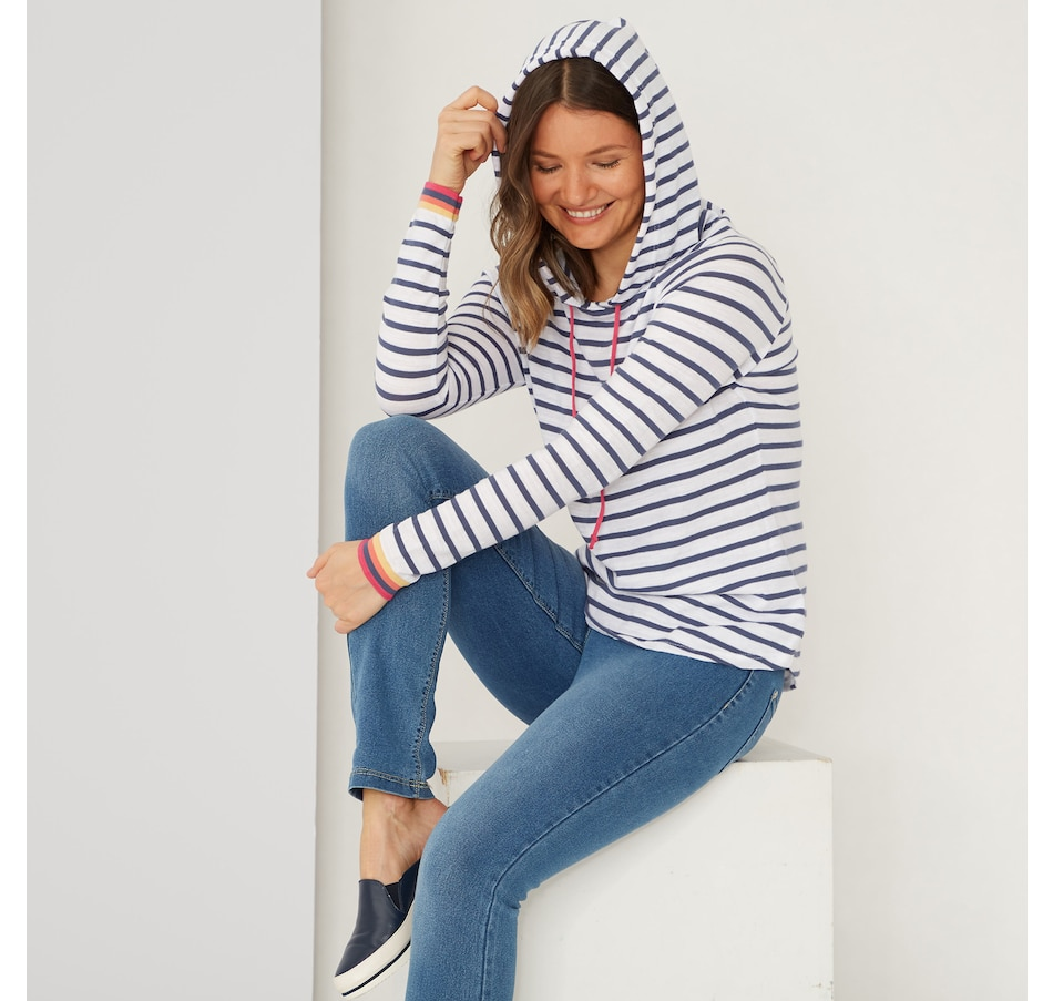Image 486238_BLU.jpg , Product 486-238 / Price $145.00 , Cotton Country by Parkhurst Rebekah Stripe Hoodie from Cotton Country by Parkhurst on TSC.ca's Fashion department