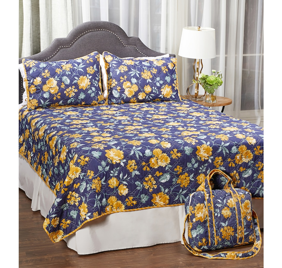 Image 486969_NVY.jpg , Product 486-969 / Price $69.99 - $129.99 , HomeSuite Sasha 3-Piece Quilt Set from HomeSuite Collection on TSC.ca's Home & Garden department