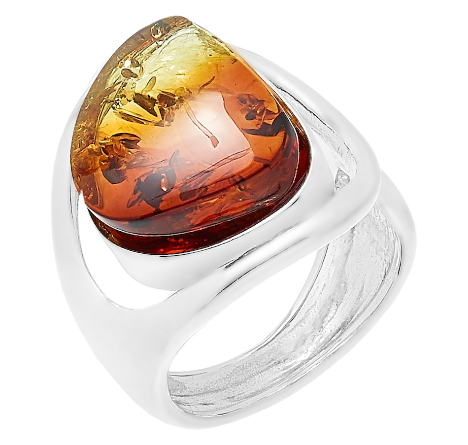 Image 487300_OMB.jpg , Product 487-300 / Price $59.99 , Amber Extraordinaire Sterling Silver Freeform Shape Amber Ring from Amber Extraordinaire on TSC.ca's Jewellery department