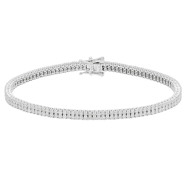14K White Gold Diamond 2 Row Bracelet