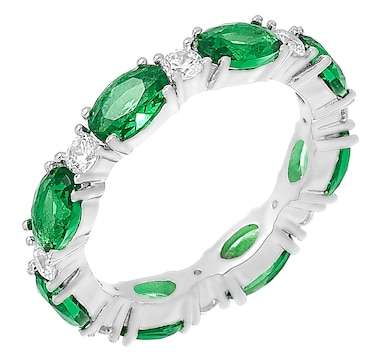 Gem Illusions Sterling Silver Simulated Gemstone Band