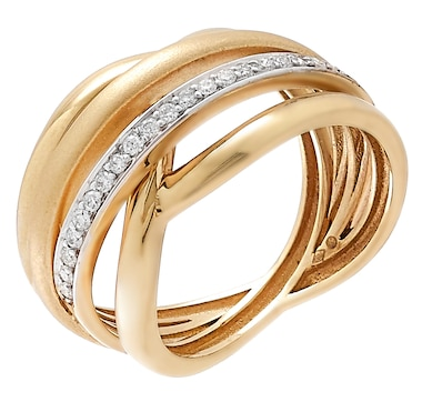 UNOAERRE 18K Gold 95th Anniversary Diamond Ring