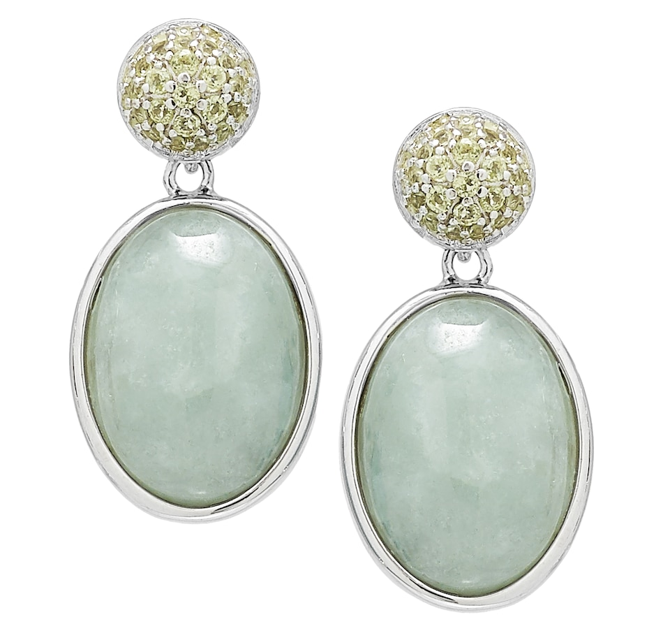 Image 488604.jpg , Product 488-604 / Price $110.88 , Jade of Yesteryear Sterling Silver Rhodium Plate Green Jade and Peridot Earrings from Jade of Yesteryear on TSC.ca's Jewellery department