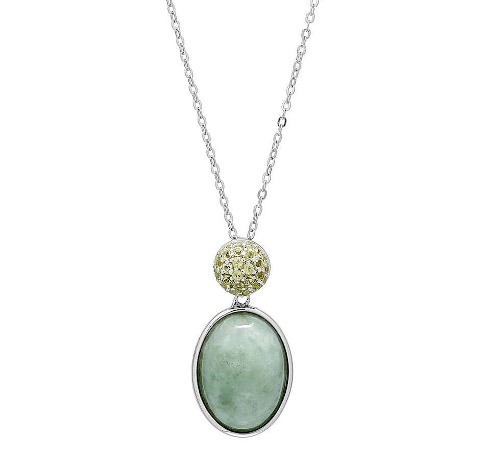 Image 488605.jpg , Product 488-605 / Price $114.99 , Jade of Yesteryear Sterling Silver Rhodium Plate Green Jade and Peridot Pendant with Chain from Jade of Yesteryear on TSC.ca's Jewellery department
