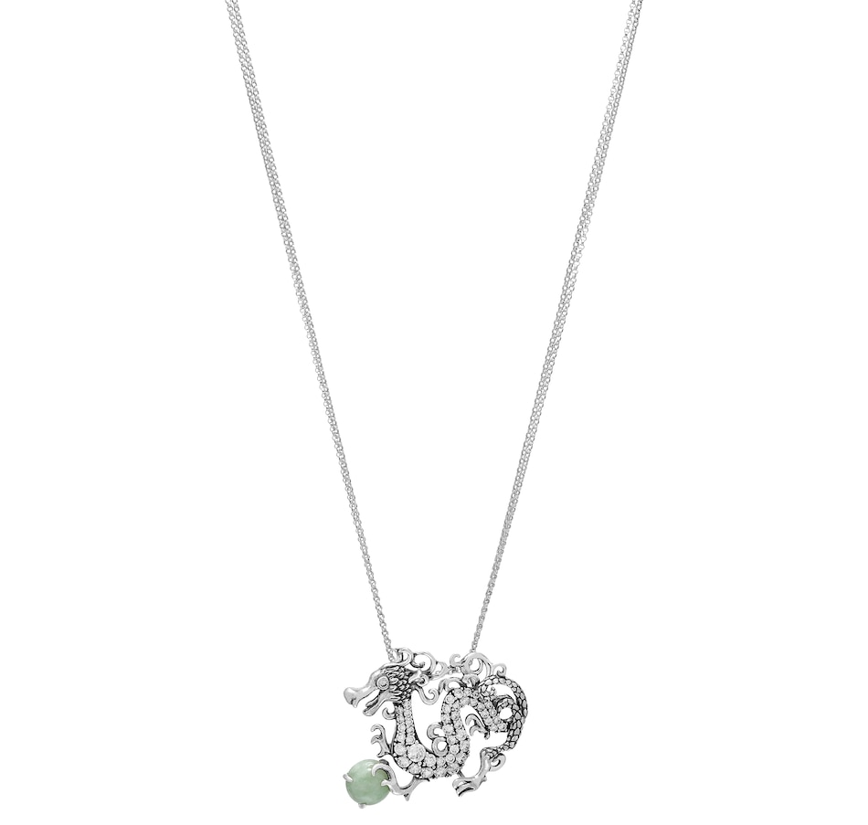 Image 488610_GNJ.jpg , Product 488-610 / Price $99.33 , Jade of Yesteryear Sterling Silver Jade Dragon Pendant with Rolo Chain from Jade of Yesteryear on TSC.ca's Jewellery department