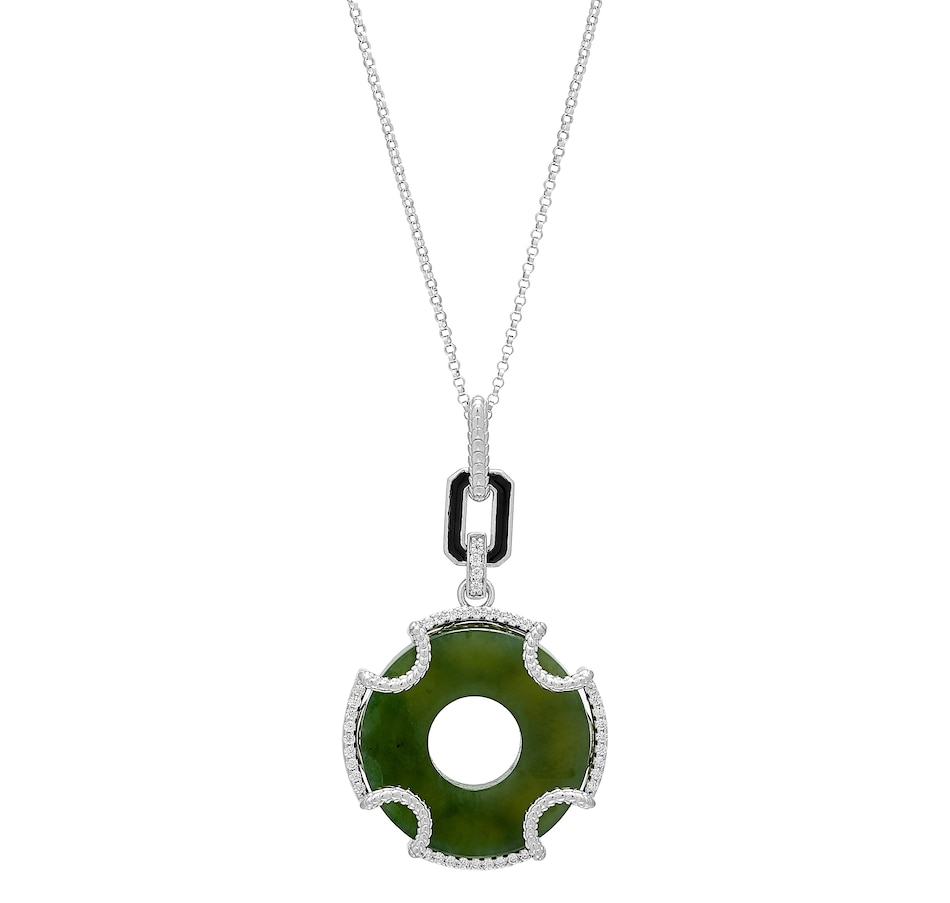 Image 488612.jpg , Product 488-612 / Price $129.88 , Jade of Yesteryear Sterling Silver Natural Green Nephrite Jade Pendant with Chain from Jade of Yesteryear on TSC.ca's Jewellery department
