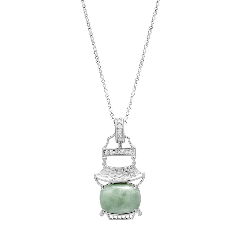 Image 488613.jpg , Product 488-613 / Price $125.00 , Jade of Yesteryear Sterling Silver Green Jade Cushion Pendant with Rolo Chain from Jade of Yesteryear on TSC.ca's Jewellery department