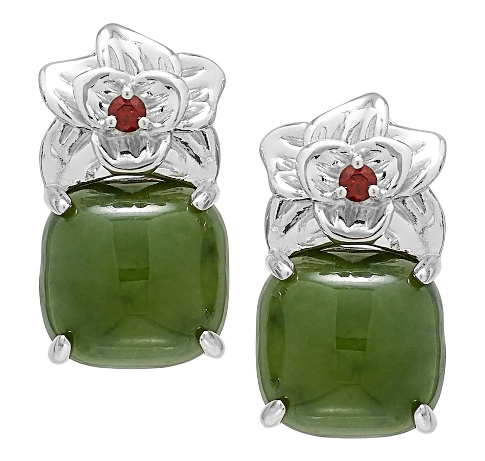 Image 488617_NPRT.jpg , Product 488-617 / Price $59.33 , Jade of Yesteryear Sterling Silver Jade Cushion Cut Earrings from Jade of Yesteryear on TSC.ca's Jewellery department