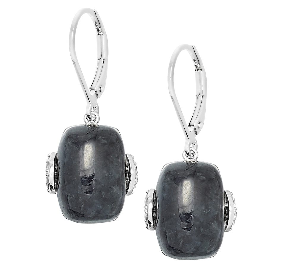Image 488618.jpg , Product 488-618 / Price $114.99 , Jade of Yesteryear Sterling Silver Charcoal Jade Cushion Cut Earrings from Jade of Yesteryear on TSC.ca's Jewellery department