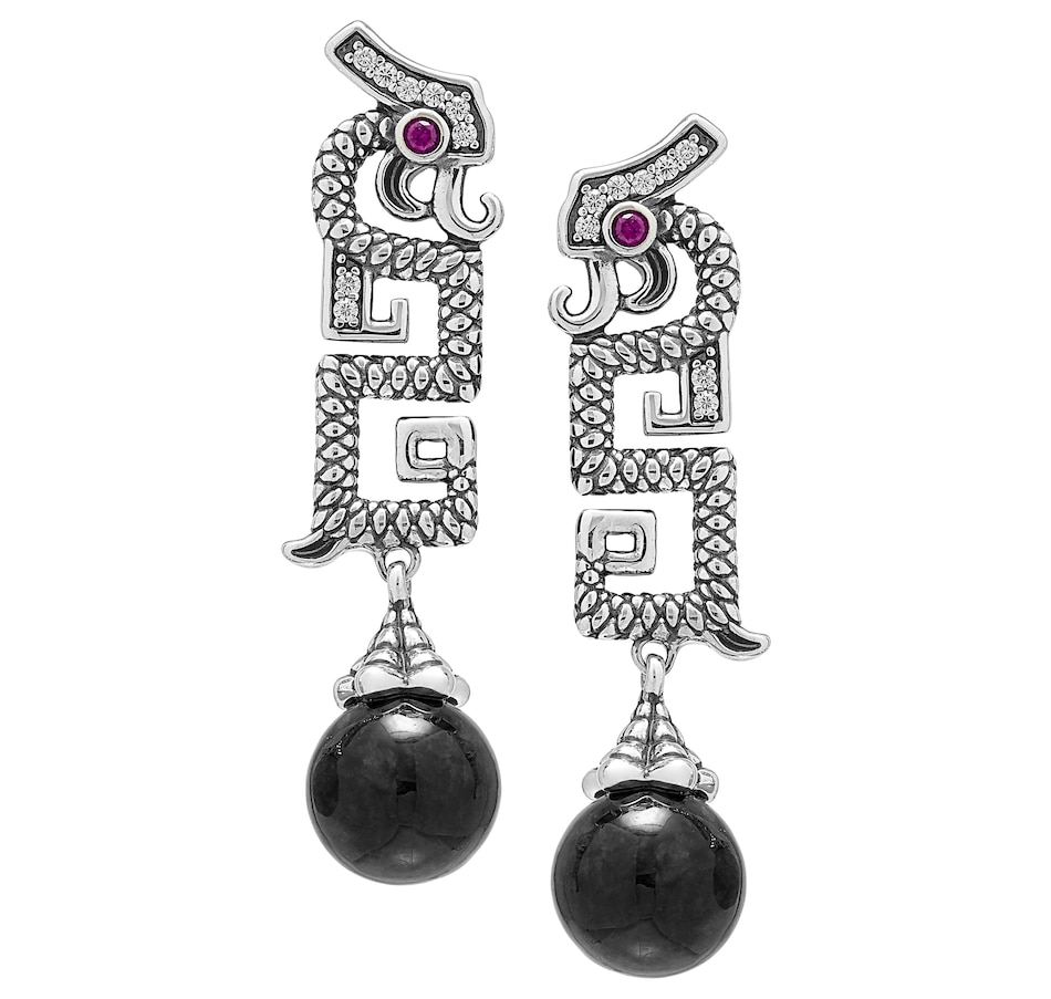 Image 488620_CHRJD.jpg , Product 488-620 / Price $69.88 , Jade of Yesteryear Sterling Silver Oxidized Jade Drop Earrings from Jade of Yesteryear on TSC.ca's Jewellery department