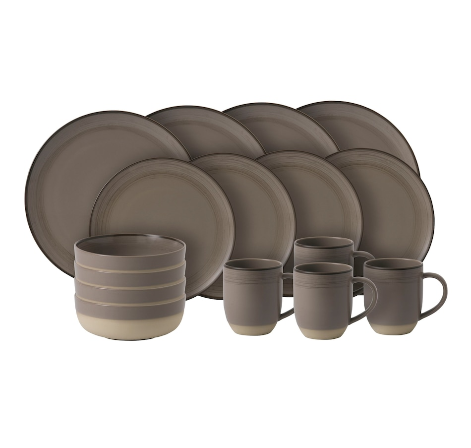 Image 489278.jpg , Product 489-278 / Price $119.99 , ED Ellen DeGeneres Crafted by Royal Doulton Taupe Brushed Glaze 16-Piece Set from Ellen DeGeneres by Royal Doulton on TSC.ca's Kitchen department