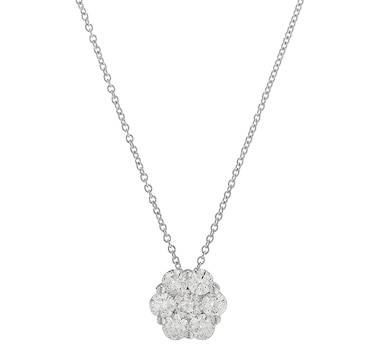 14K White Gold 1.00ctw Diamond Rose Pendant with Chain