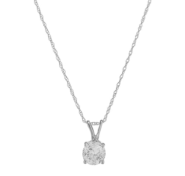 14K Gold 0.75ctw Diamond Solitaire Pendant with Chain