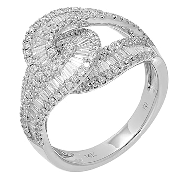 Diamond Show 14K White Gold Baguette and Round Diamond Ring