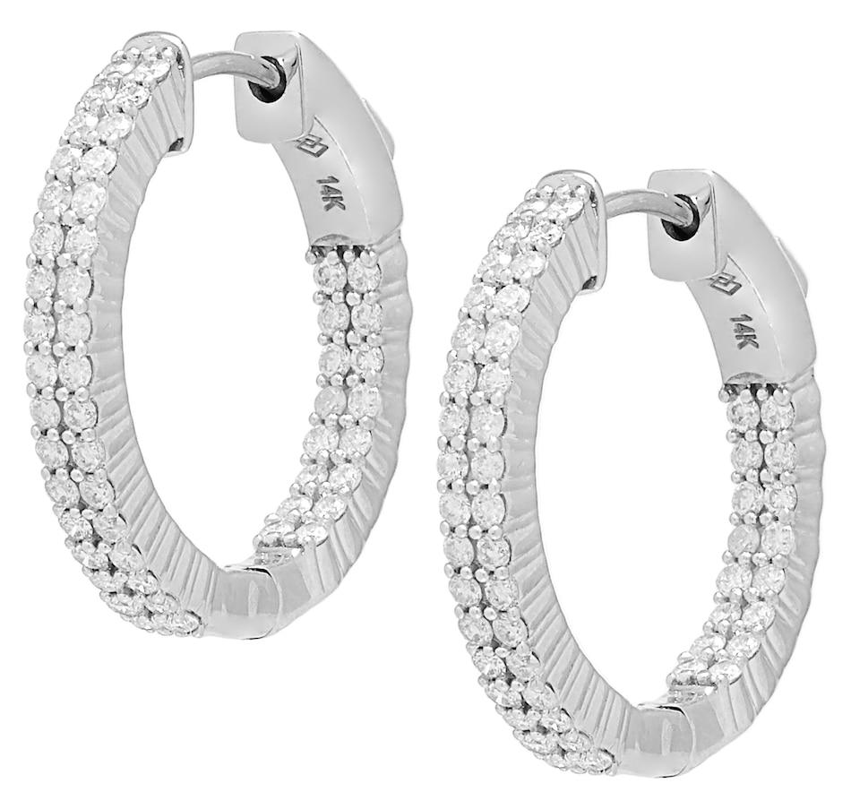 Image 491743_WGL.jpg , Product 491-743 / Price $999.99 - $1,499.99 , Diamond Show 14K Gold 2 Row Diamond Hoop Earrings from Diamond Show on TSC.ca's Jewellery department