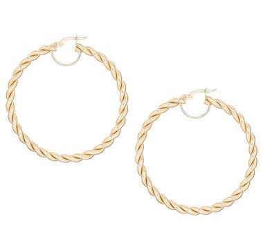 Stefano Oro 14K Gold Twisted Capri Hoop Earrings