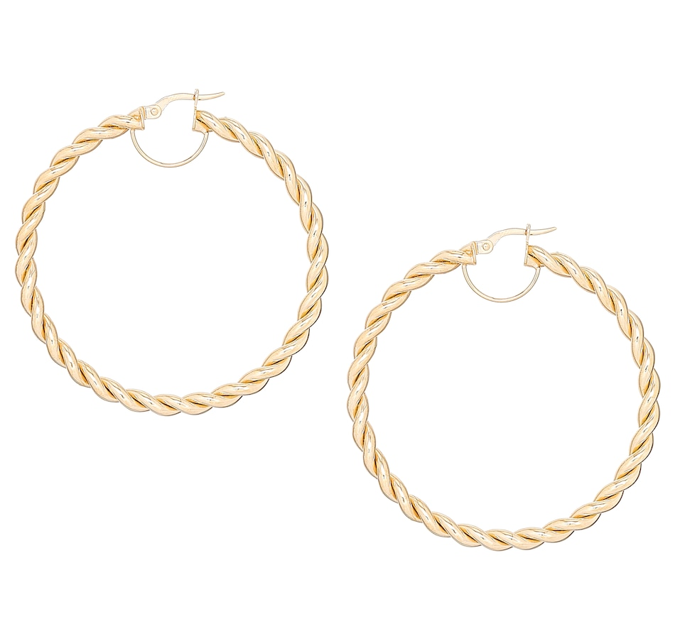 Image 491814_YGL.jpg , Product 491-814 / Price $239.99 - $599.99 , Stefano Oro 14K Gold Twisted Capri Hoop Earrings from Stefano Oro on TSC.ca's Jewellery department