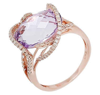 EFFY 14K Rose Gold Diamond & Pink Amethyst Ring