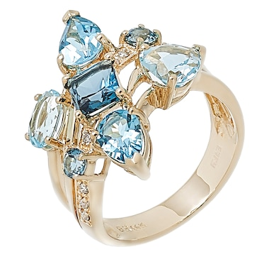 EFFY Jewellery 14K Yellow Gold Diamond and Blue Topaz Cluster Ring