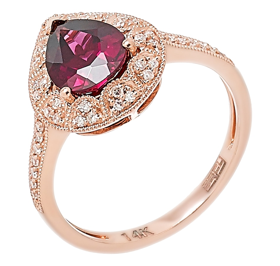 Image 492002.jpg , Product 492-002 / Price $999.99 , EFFY 14K Rose Gold Diamond & Pear Shape Rhodolite Ring from Effy Jewellery on TSC.ca's Jewellery department