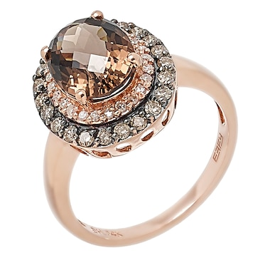 EFFY 14K Rose Gold White & Champagne Diamond & Oval Smokey Quartz Halo Ring