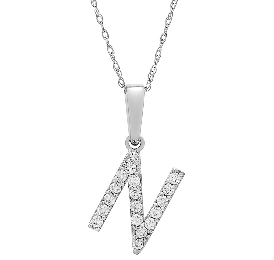 Image 496771_WGLN.jpg , Product 496-771 / Price $399.99 , 14K White Gold 0.20 ctw Diamond Initial Pendant with Chain from Diamond Show on TSC.ca's Jewellery department